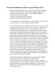 Prøve i Markedsføring og Ledelse, Pris og Distribusjon. Del II