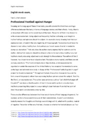 Professional Football against Hunger & The Dead Planet