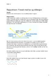 Forsøk med lys og refleksjon | Rapport | Naturfag