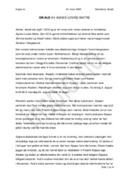 Iskald | Agnes Lovise Matre | Analyse
