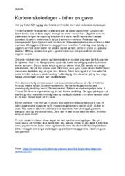 Kortere skoledager – tid er en gave   Norsk Oppgave