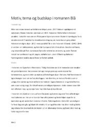 Motiv, tema og budskap i romanen Blå