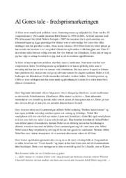 Al Gores tale | Fredsprismarkeringen | 5 i karakter