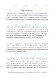 A Farewell to Arms | Analysis | 6 i karakter
